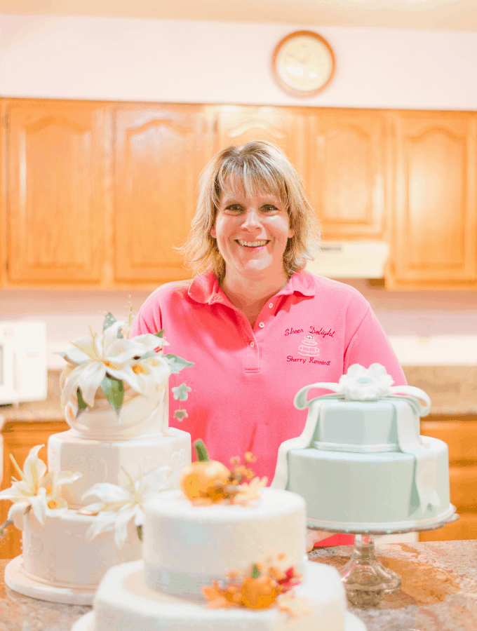 Sherry Ronning with Assorted Decorated Cakes