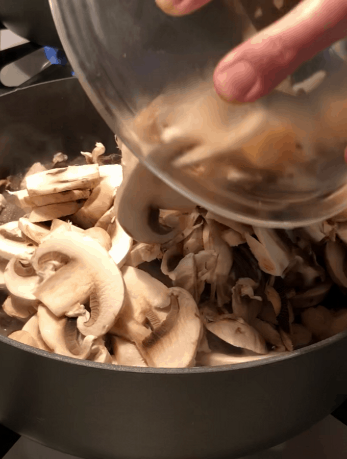 Sliced Mushrooms and Venison
