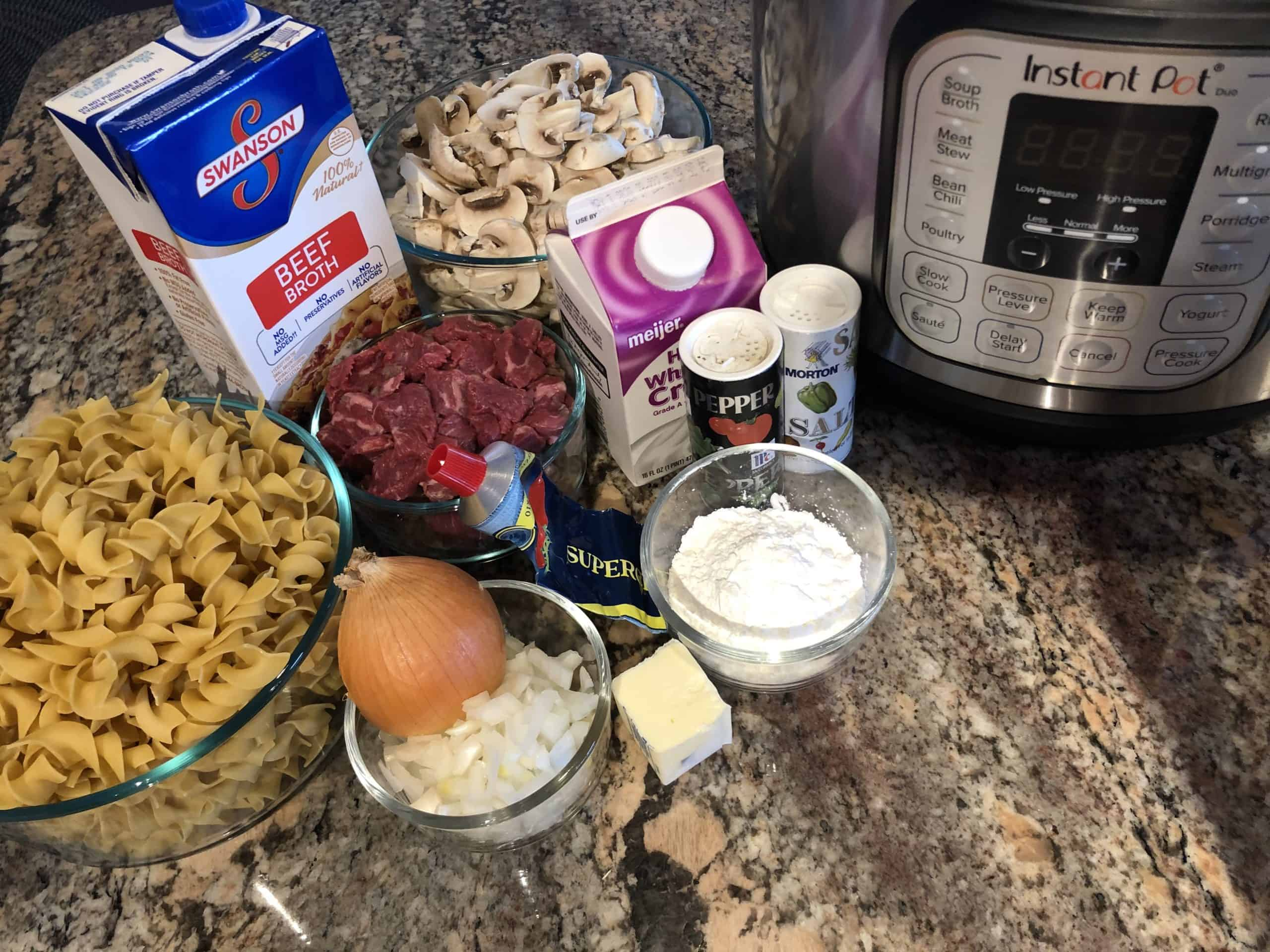 Beef Tips and Noodle Ingredients