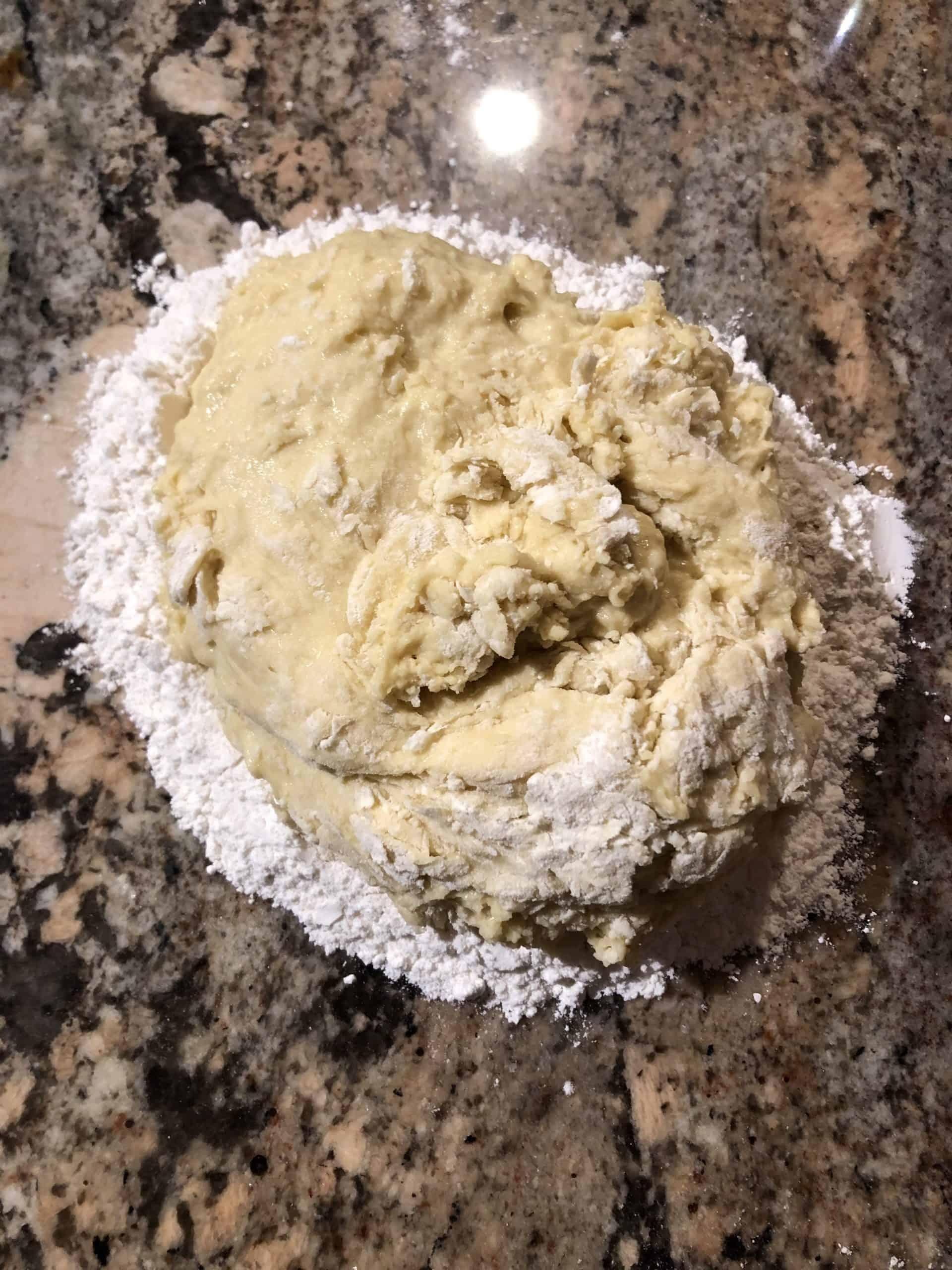 Dough on a floured countertop