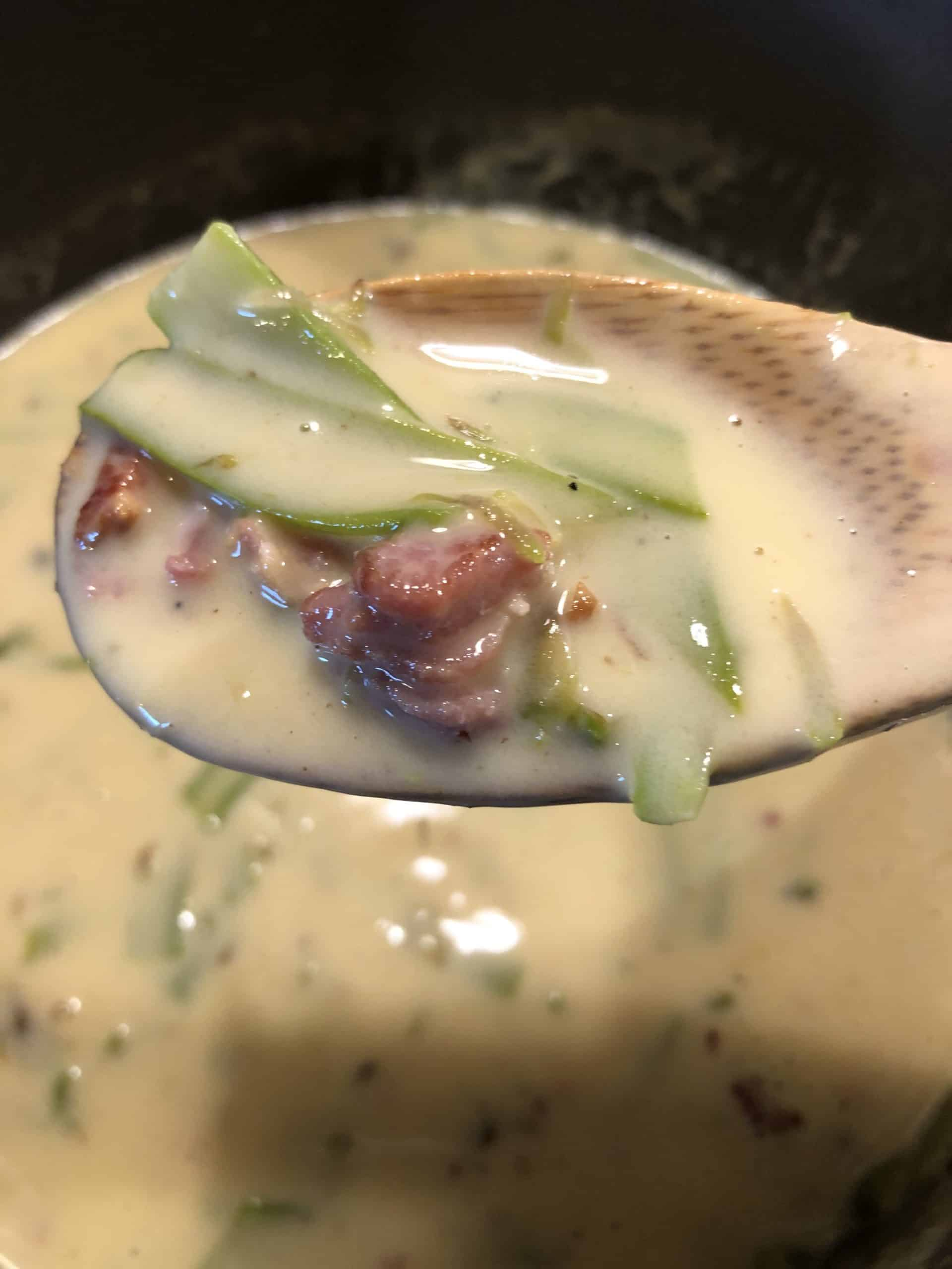 Shaved Asparagus Bacon Soup