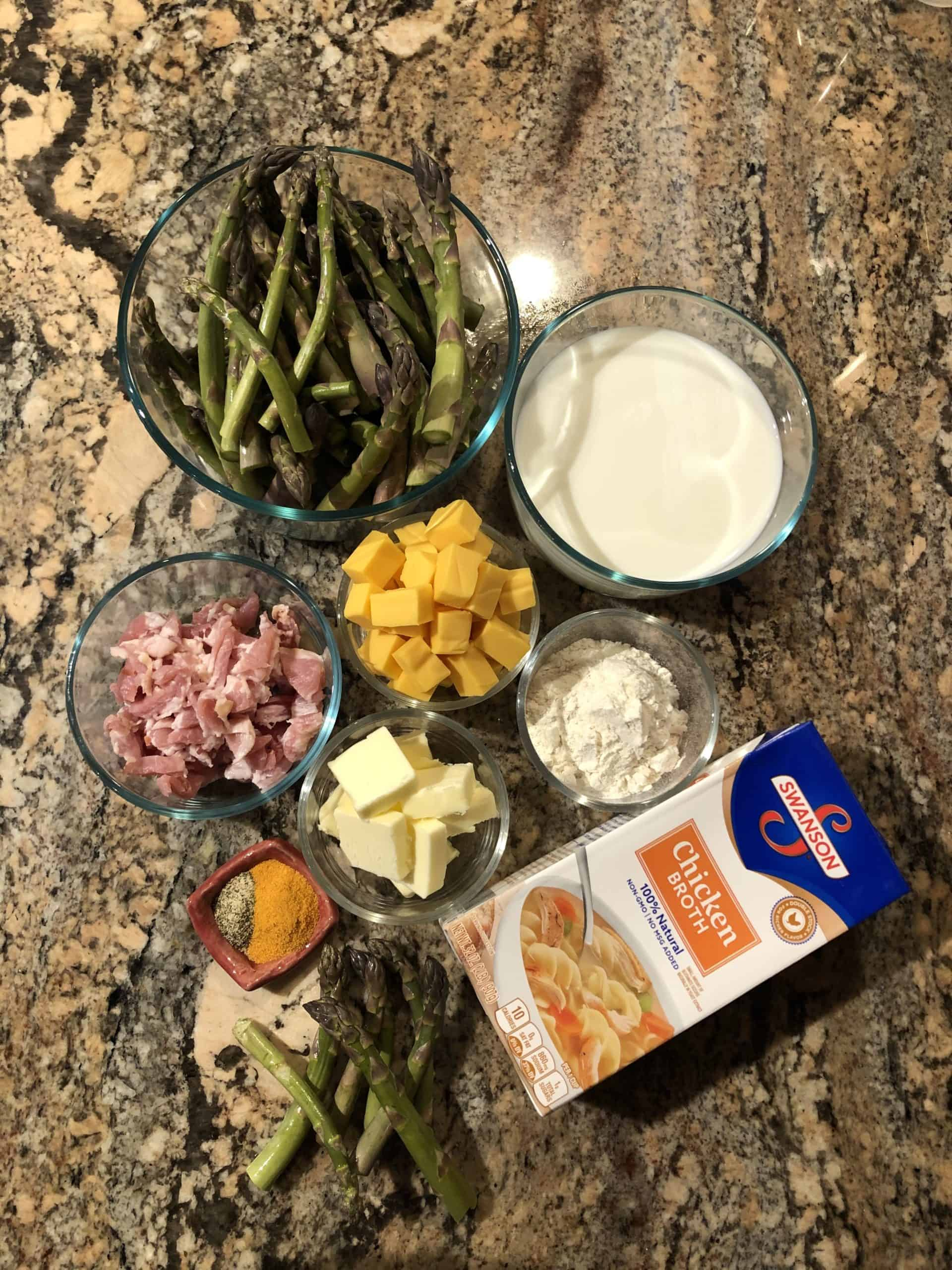 Cheesy Bacon and Asparagus Soup Ingredients