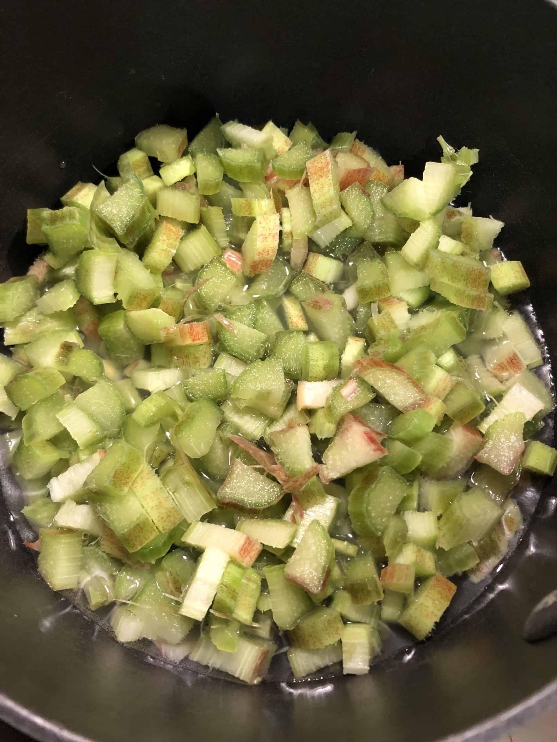 Diced Rhubarb, Lemon Juice and Water in Stock Pot
