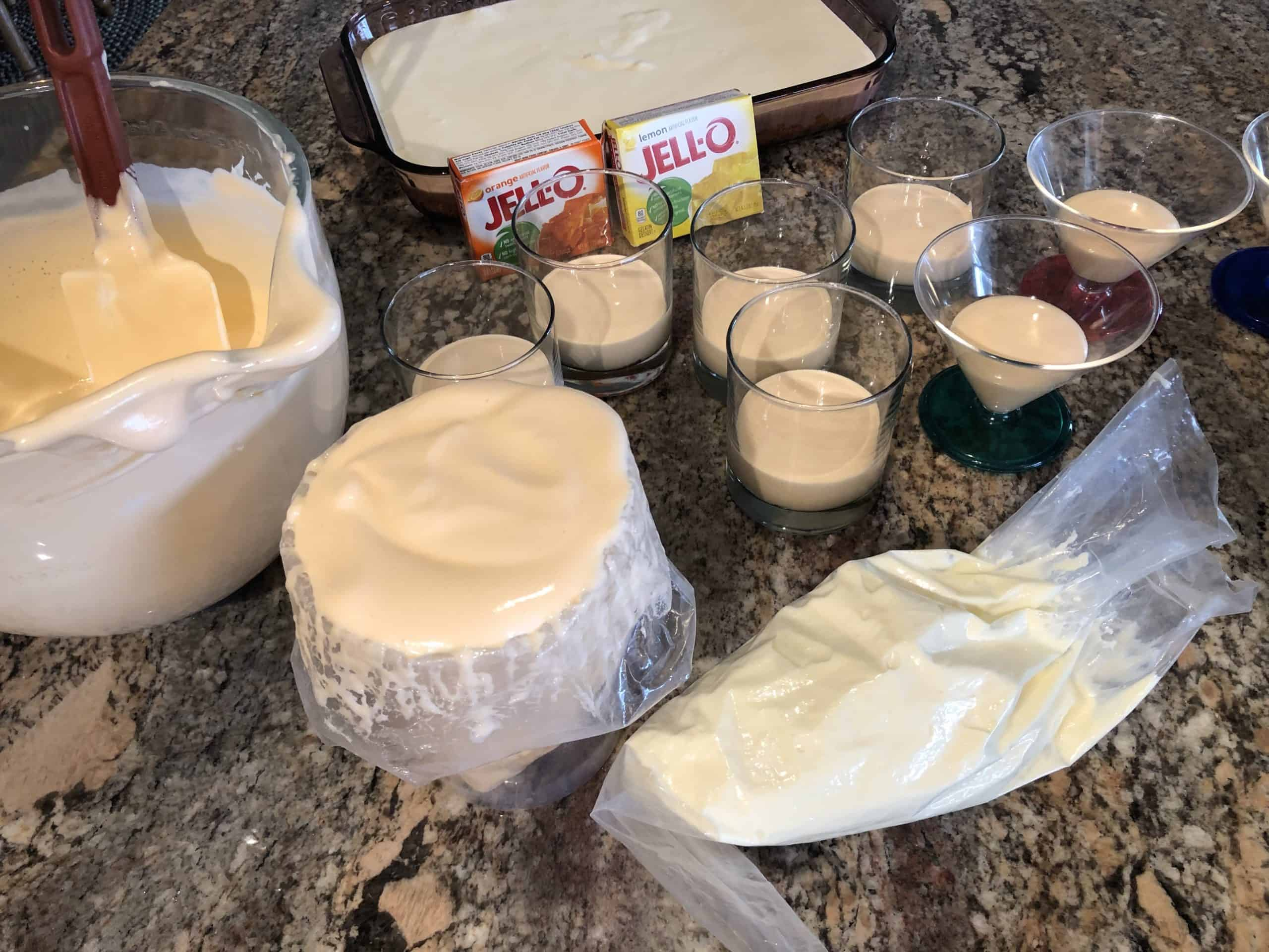 Assembly of Cream Cheese Mixture in Baking Dish or Individual containers.