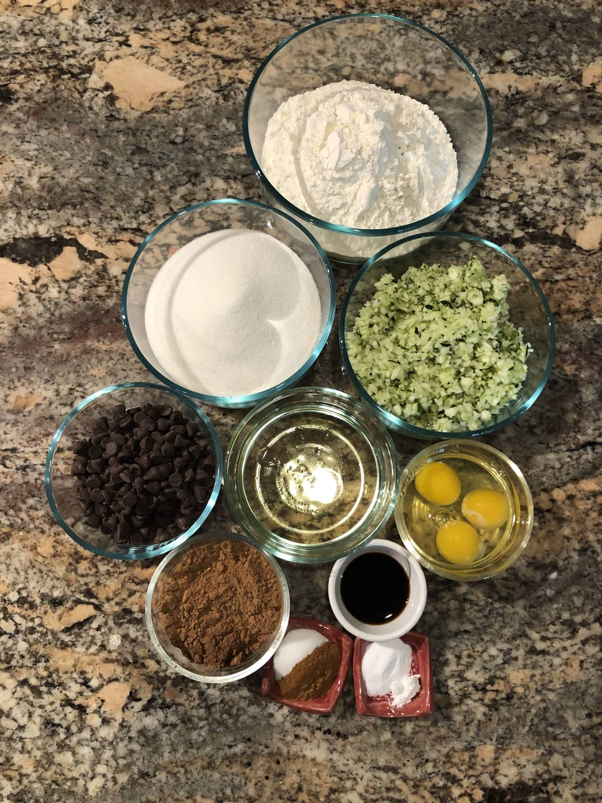 Triple Chocolate Zucchini Bread/Muffins Ingredients