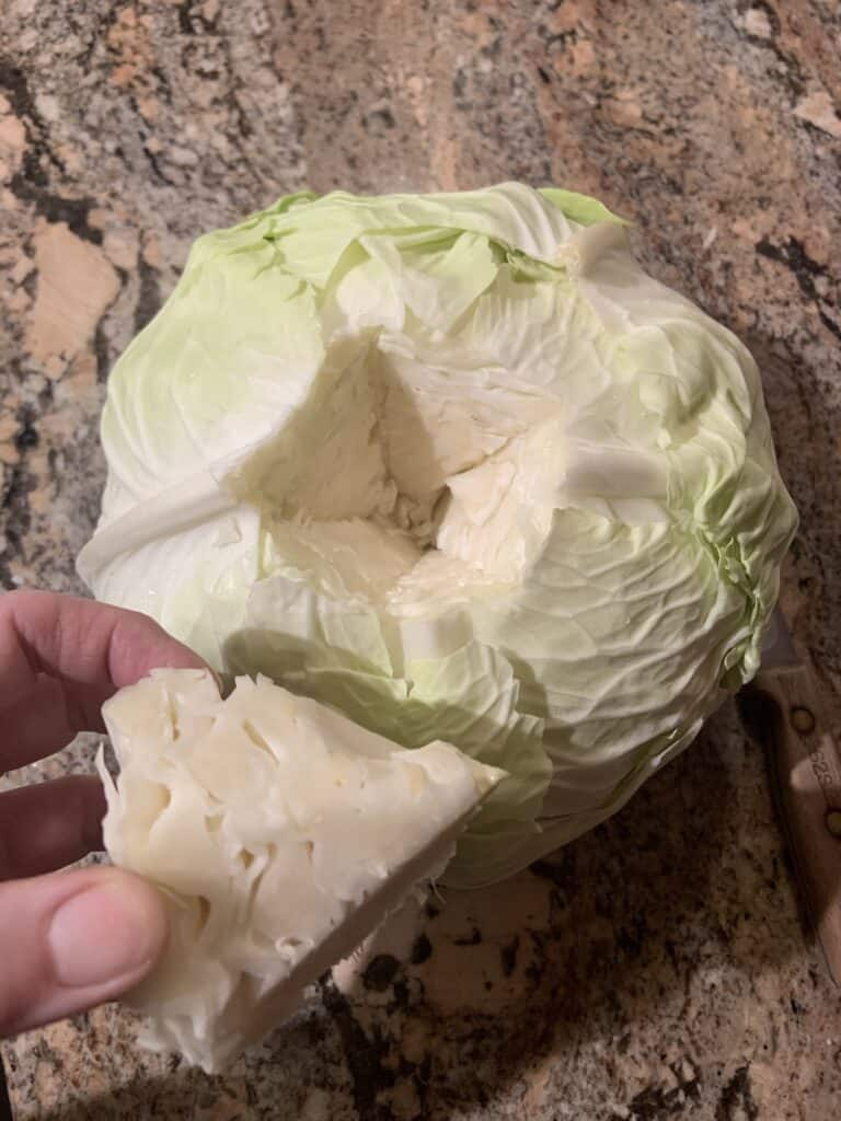 Core removal of the cabbage.