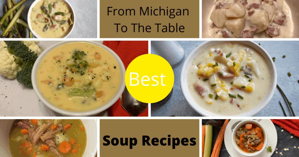 Collection of Soups - Cheesy Broccoli Cauliflower Soup, Corn Chowder Soup, Beef Barley Soup, Potato Soup, Split Pea Soup and Asparagus Soup