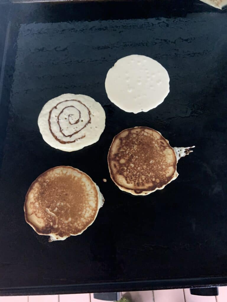 3 Stages of Cinnamon Roll Pancakes - Batter, Cinnamon Swirl and Flipping Pancake