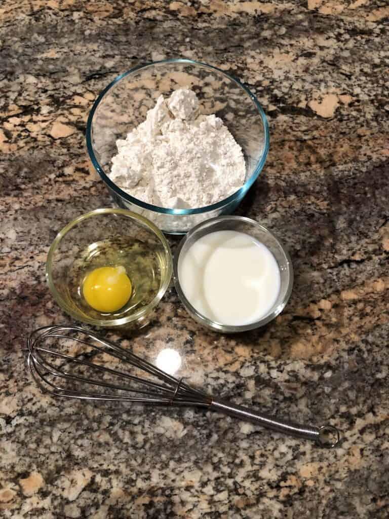 Pancake Ingredients - Bisquick, Eggs and Milk