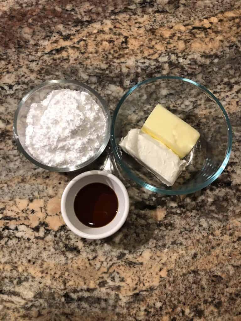 Cream Cheese Glaze Ingredients - Butter, Cream Cheese, Powdered Sugar and Vanilla
