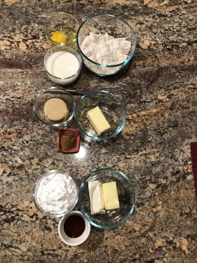 Cinnamon Roll Pancakes Ingredients - Bisquick, Milk, Egg, Butter, Brown Sugar, Cinnamon, Powdered Sugar, Vanilla and Cream Cheese