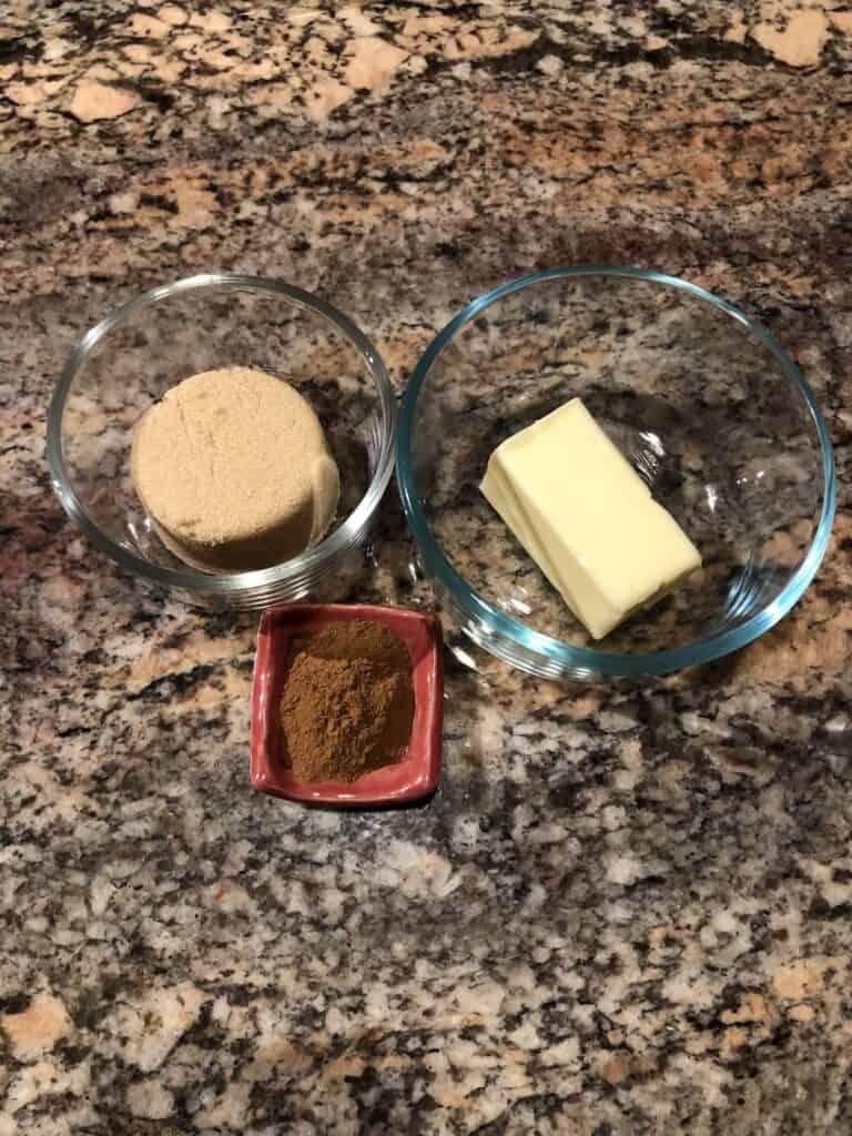 Cinnamon Swirl Ingredients - Butter, Brown Sugar and Cinnamon