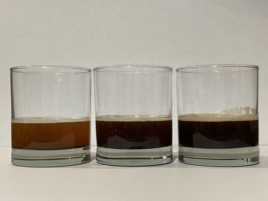 Three stages of brown butter - light, medium and dark.