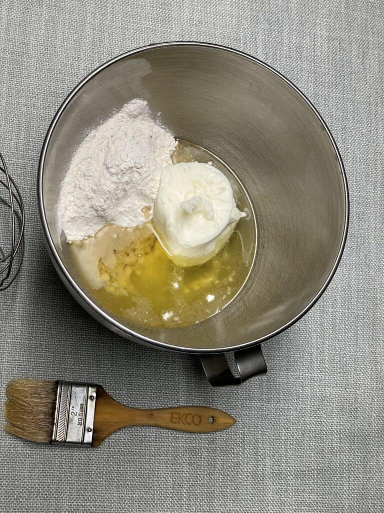 Flour, Oil and Shortening in mixing bowl.