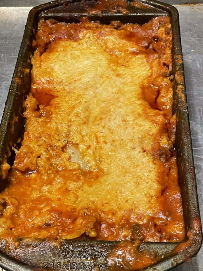 Pan of baked homemade lasagna