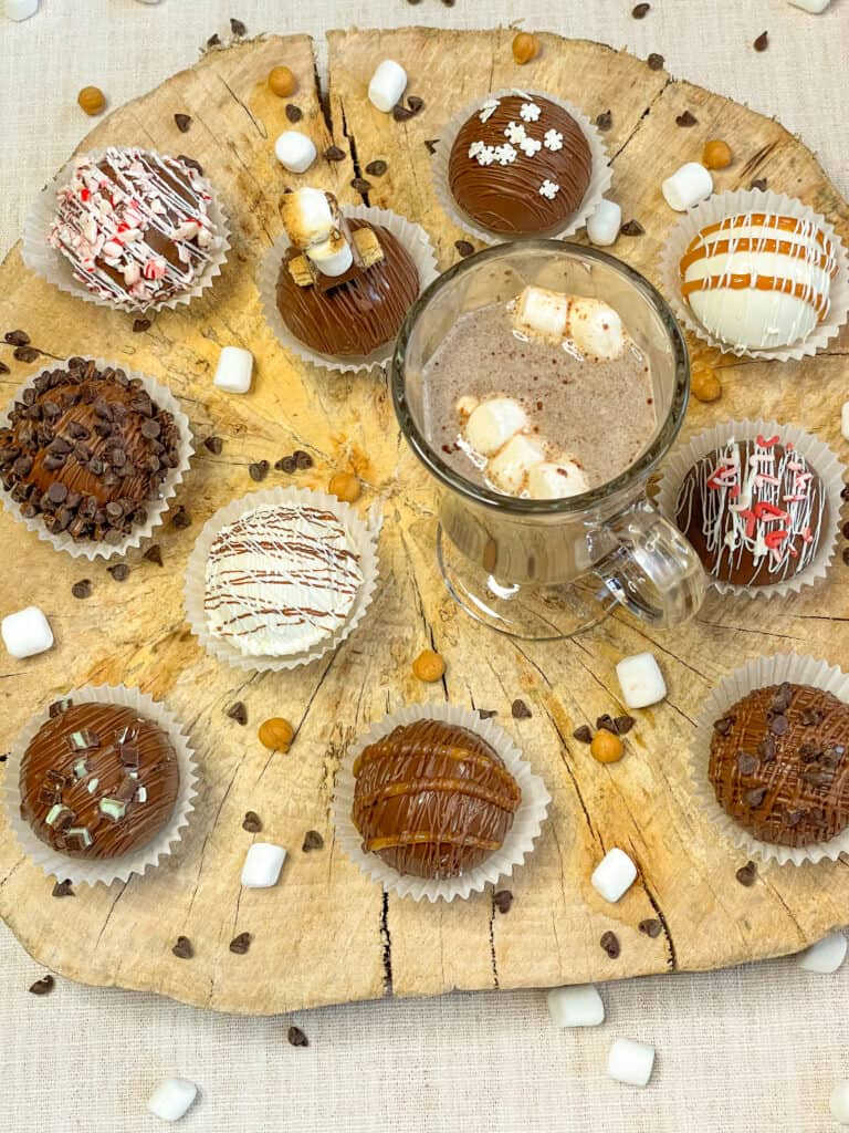 10 Flavors Hot Chocolate Bombs with cup of Kahlua H.C.