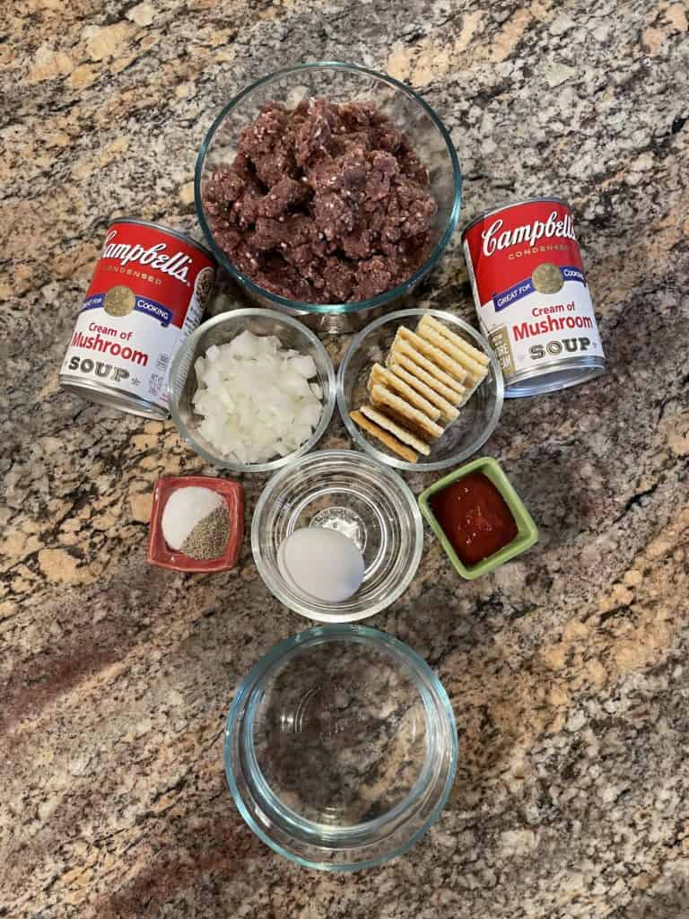 Venison Meatballs Ingredients - venison burger, saltines crackers, diced onions, egg, ketchup, salt and pepper.