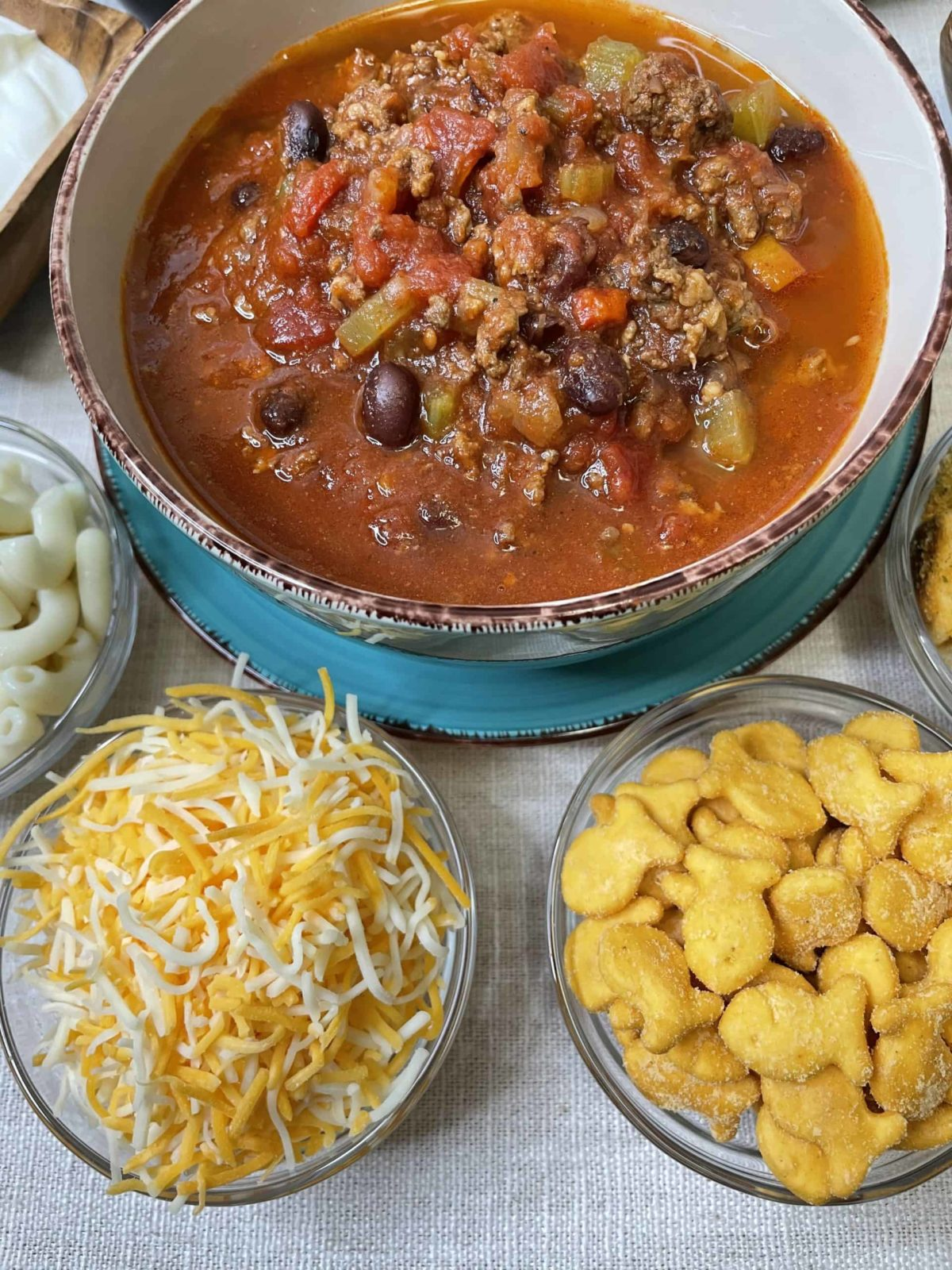 Instant Pot Slow Cooked Chili with sides.