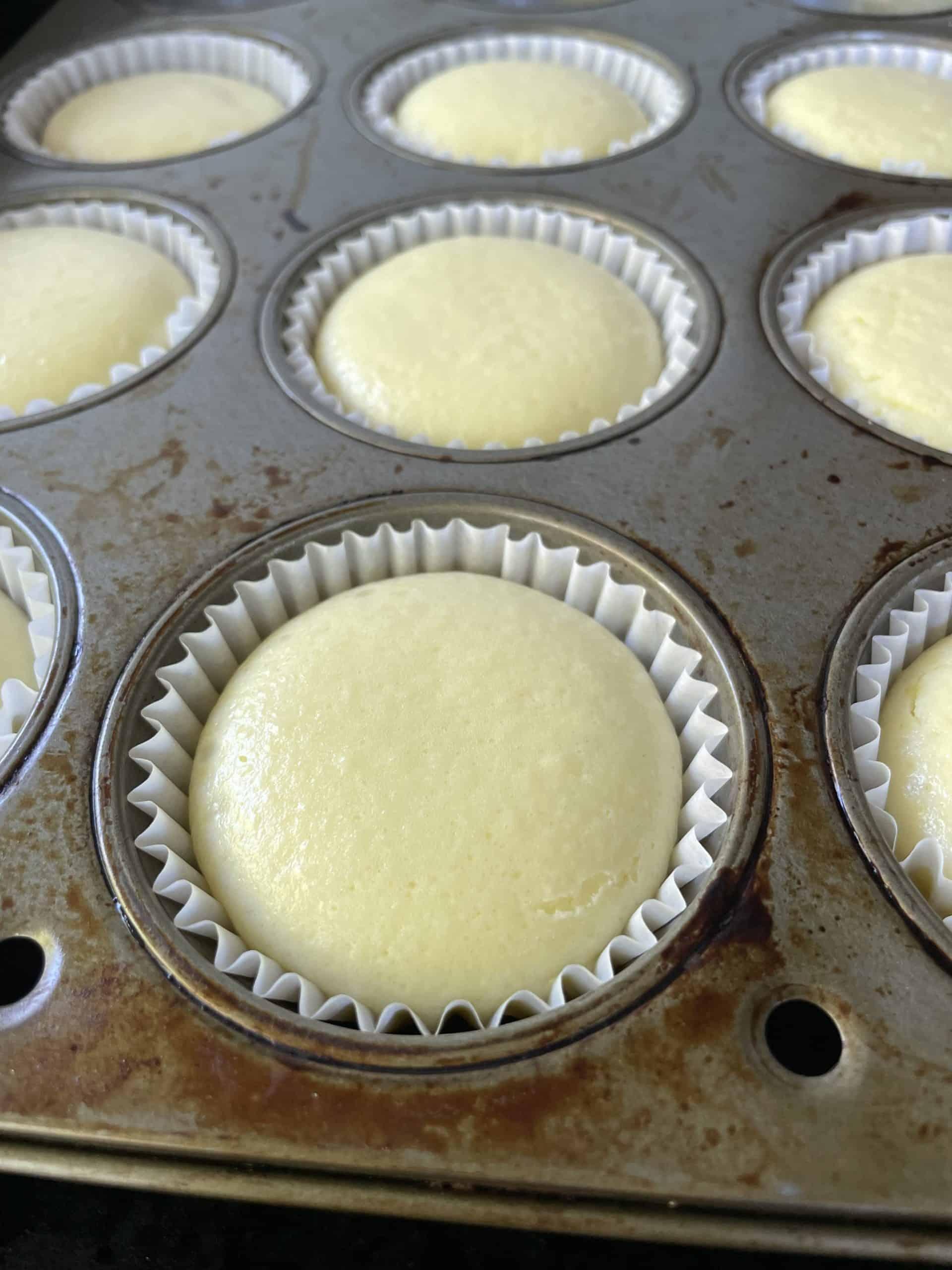 Fully baked Mini Cheesecakes.