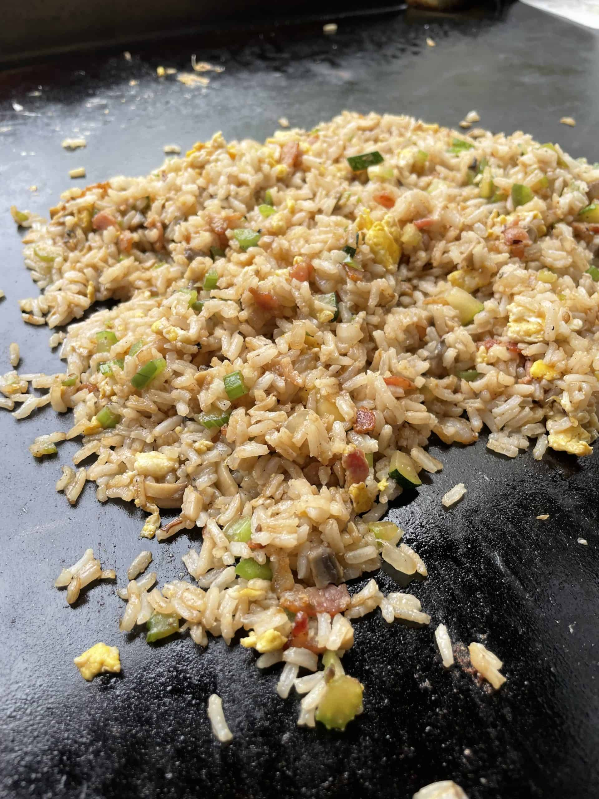 Seasoned Fried Rice on a Blackstone Griddle.