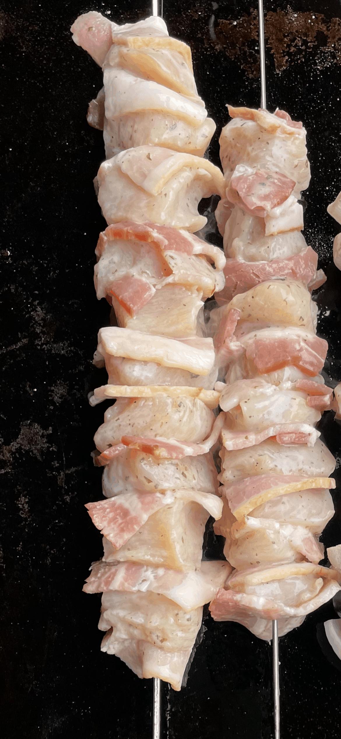 Assembled Bacon Chicken Kabobs