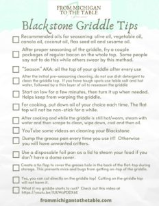 A list of several Blackstone Griddle Tips.