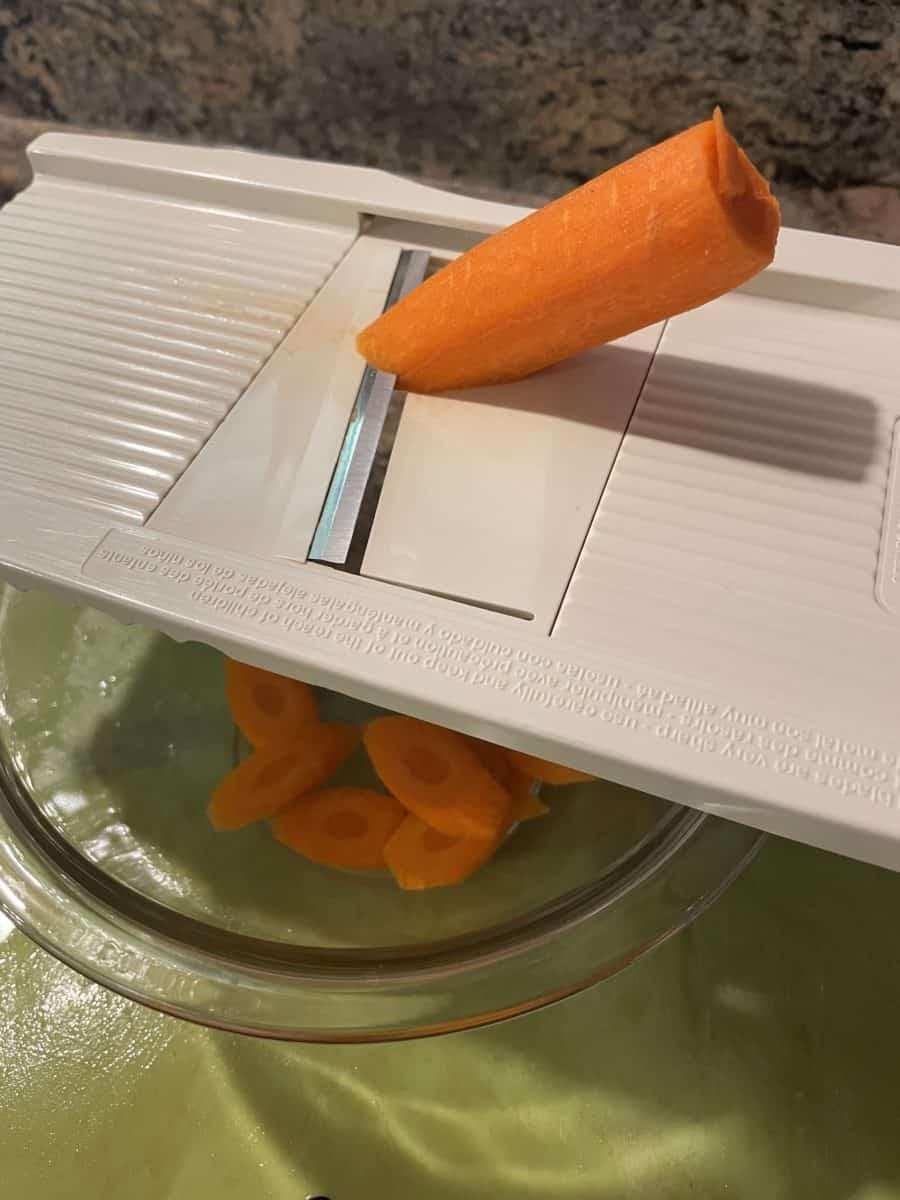 Mandolin slice the carrots at an angel.