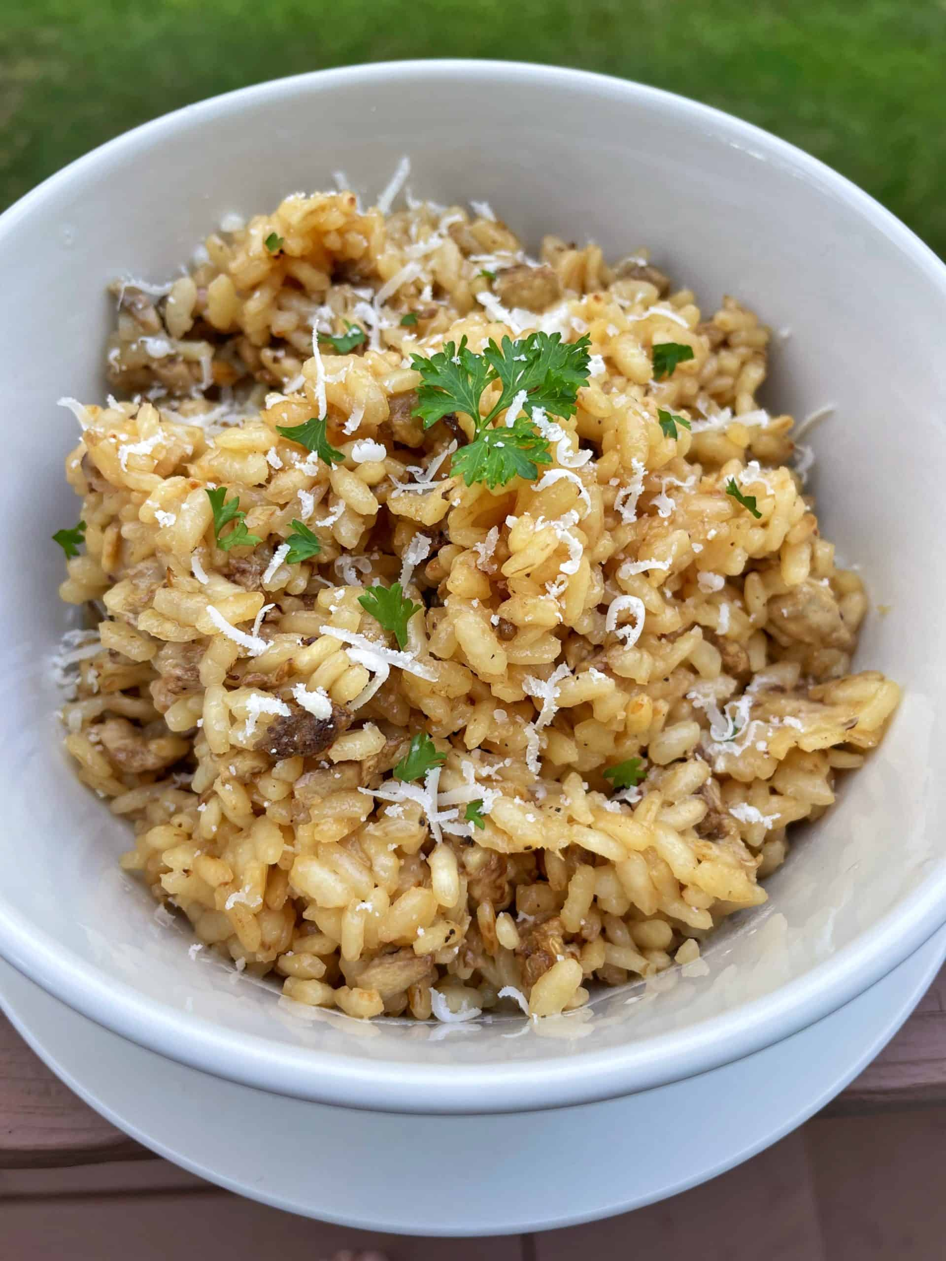 Lion's Mane Mushroom Risotto in a bowl.
