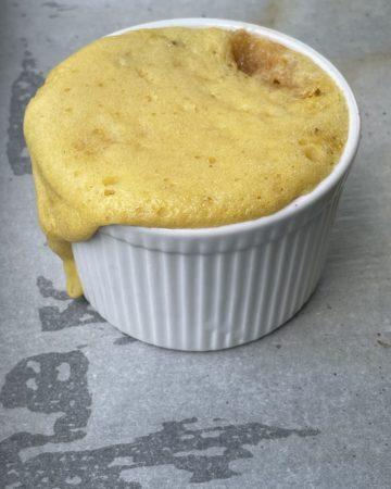 Peach Cobbler with Cake Mix in a Ramekin.